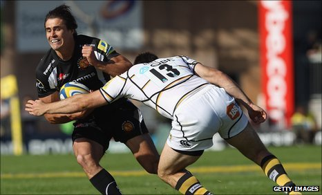 Exeter's Ignacio Mieres is tackled