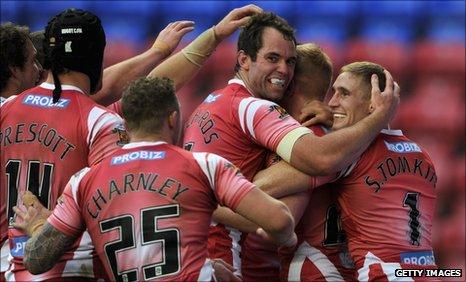 Wigan players celebrate