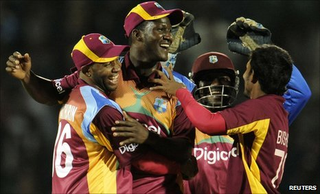 West Indies celebrate after beating England in the second T20 international