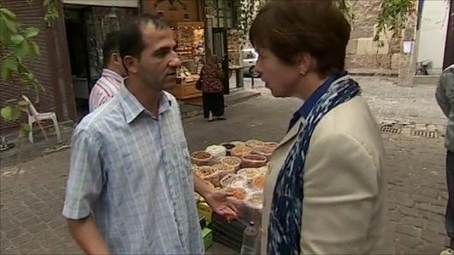 Shopkeeper in Damascus confronts Lyse Doucet
