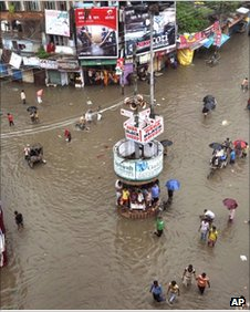 A city area in Varanasi, Uttar Pradesh, submerged in flood water