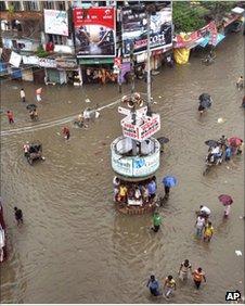 A city area in Varanasi, Uttar Pradesh, submerged in flood water