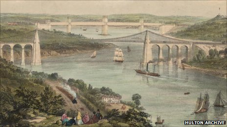 A lithograph by Picken of Telford's Menai Suspension Bridge and Stephenson's Britannia Tubular Bridge from about 1850