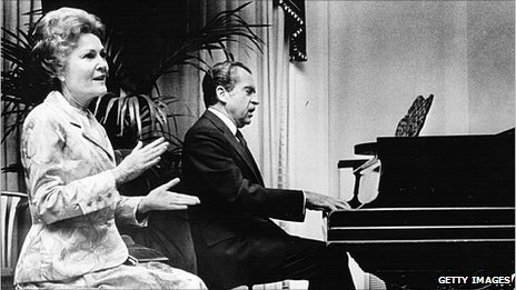 Pat and Richard Nixon at the piano