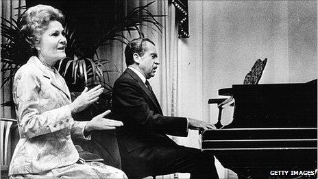 Pat and Richard Nixon at the piano