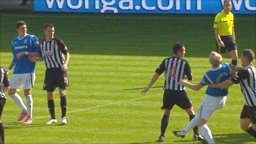 Steven Naismith strikes Dunfermline's Austin McCann