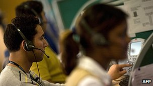 Workers at an Indian call centre