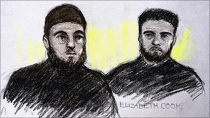 From left to right: Court artist's impression of Mohammed Rizwan and Bahader Ali appearing in the dock at West London Magistrates