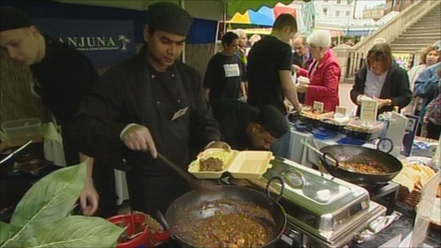 A section of the revamped Leicester market has been moved outdoors