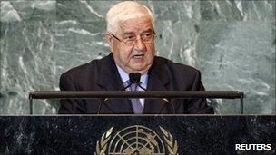 Syrian Foreign Minister Walid Moualem speaks at the UN