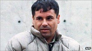 Joaquin Guzman in La Palma prison in Juarez, Mexico (July 1993)