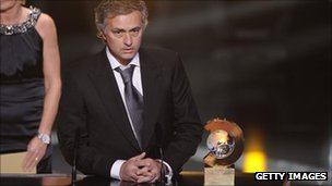 Jose Mourinho with the 2010 FIFA World Coach of the Year