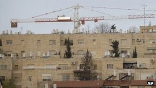 Construction cranes in the east Jerusalem settlement of Gilo (January 2011)