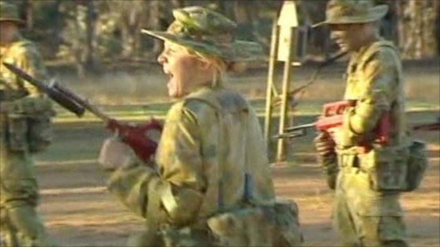 Woman in combat training