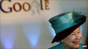 The Queen in front of Google logo