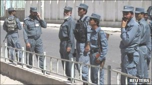 Policemen in Lashkar Gah on 27 September  2011