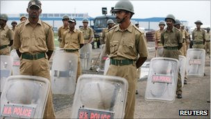 File photo of police outside the proposed Tata motors plant in West Bengal in 2008