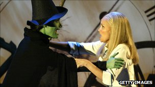 Idina Menzel (l) with Kristin Chenoweth in Wicked