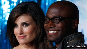 Idina Menzel with husband Taye Diggs