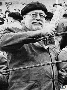 American writer Ernest Hemingway at a bullfight in Spain in the 1950s