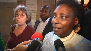 Agathe Habyarimana outside court in Paris, 28 September