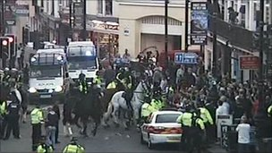 Football fans in Brighton
