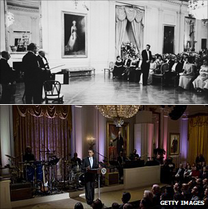 John Kennedy and Pablo Casals (top) and Barack Obama at the Motown event