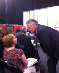 Hilary Benn talking to open day guest