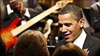 Barack Obama before Stevie Wonder concert
