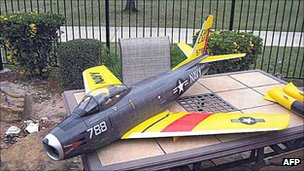 Remote controlled model of the US Navy 1950s Sabre jet fighter that allegedly belonged to Rezwan Ferdaus.