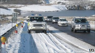 Snow on the A30 in Okehampton in 2009 - Pic: PA