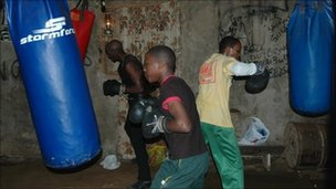 Young boxers training in the New Age boxing club house, Port Elizabeth