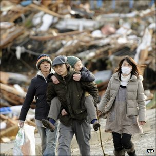 Tsunami survivors in Sendai in March 2011