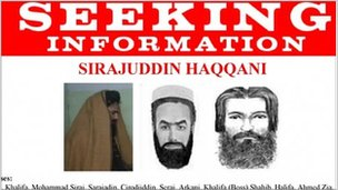 AN FBI wanted poster for Sirajuddin Haqqani