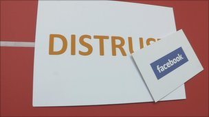 Wall signs: Distrust, Facebook