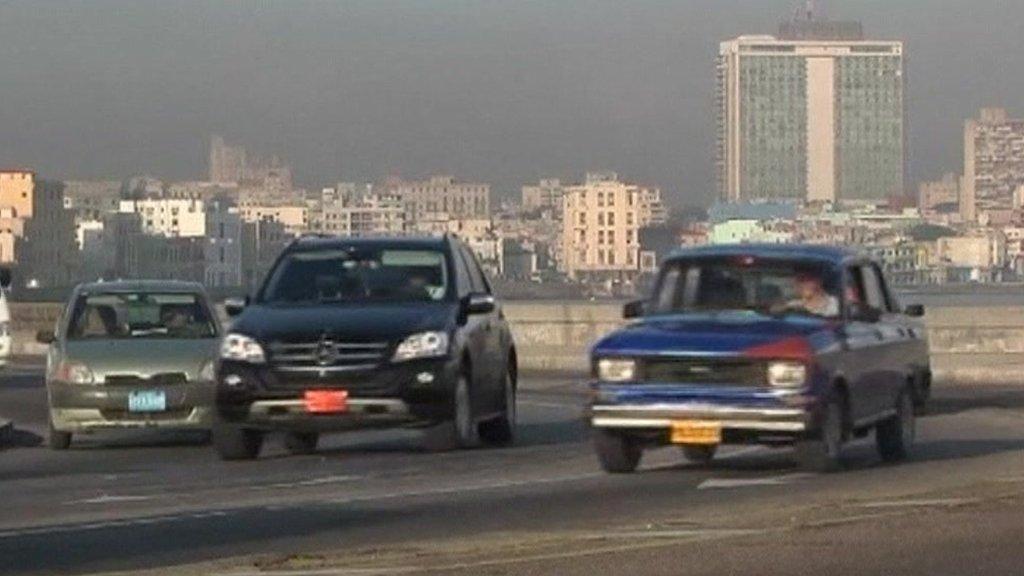 Cars on a road in Havana