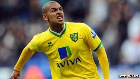 Norwich City striker James Vaughan