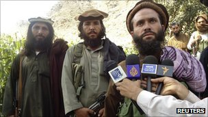 A Pakistani Taliban group commander   who holds 23 teenagers hostage, speaks to the media in the Afghanistan-Pakistan border area of Kunar and Bajaur tribal region September 6, 2011.