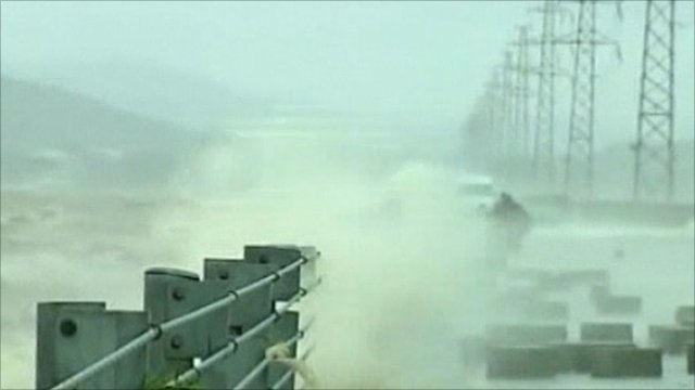 Waves lash the coast of southern China