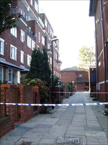 John Fearon Walk, where three teenagers were shot, near Queen's Park station in north-west London