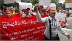 Burmese chant slogans during a protest against the Myitsone hydropower dam near the Myanmar Embassy in Kuala Lumpur, Malaysia, Thursday, September 22