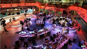 The newsroom at the headquarters of the Qatar-based al-Jazeera satellite news channel in Doha Nov 2006.
