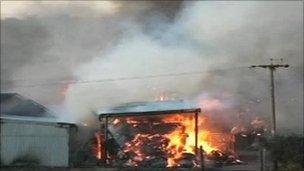 Fire at farm
