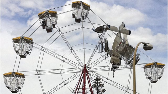 Plane stuck in the ferris wheel