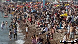 Sun-seekers packing out the beach in Brighton on Saturday afternoon