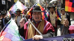 Indigenous supporters of President Morales protest in La Paz, 30 September
