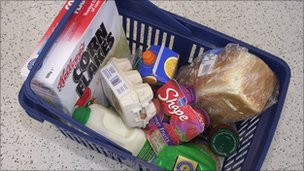 Food in shopping basket