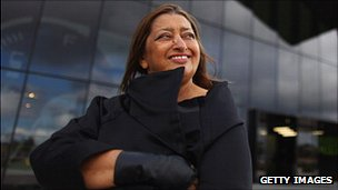 Zaha Hadid in front of Glasgow's Riverside Museum