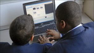 Secondary school children using a computer