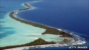 Funafuti Atoll is home to nearly half of Tuvalu's  population of 11,000